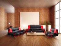 BEST PRICE EVER- NEW CAROL SOFA 3+2 * AVAILABLE IN BLACK AND RED OR GREY AND WHITE & BLACK AND WHITE