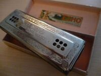 lovely quality m hohner original double sided harmonica(mouth organ)& original case,perfect working.