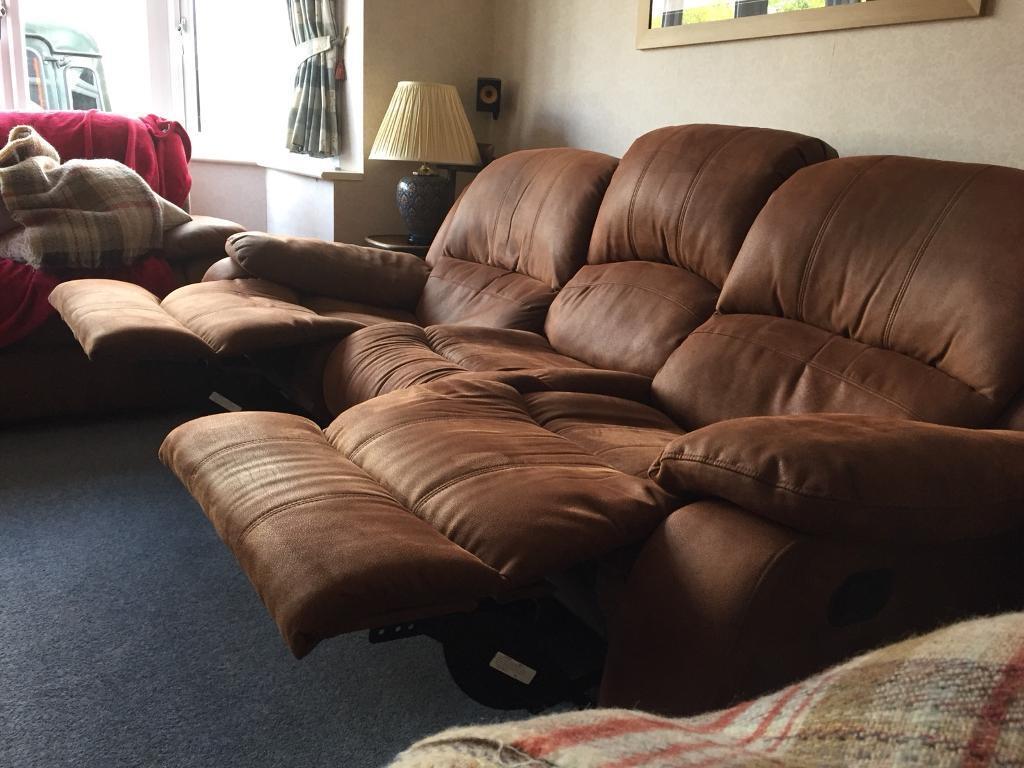 """Reclining """"nubuck"""" effect sofa"""