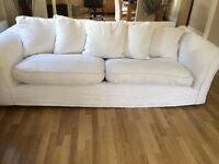 Cream 3 & 4 seater scatter back sofas & large pouffe