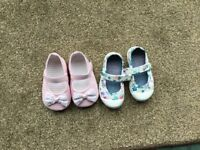 Baby girl shoes x 2 pairs. Pink pair is brand new. Nutmeg 9-12 motnhs and Next size 4.