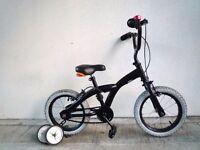 "(1875) 14"" 10"" BLACK Boys Girls Kids Childs Bike Bicycle + STABILISERS; Age: 3-5; Height: 95-110 cm"