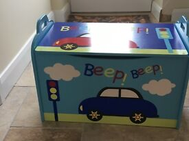Painted Wooden Toy Box with Car Pattern in Excellent Condition