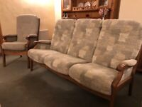 Three seater sofa and tall armchair