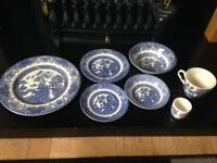 Ironstone willow pattern dining set