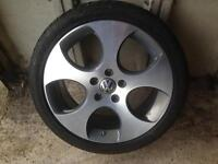 """GENUINE VW GOLF GTI 18"""" MONZA ALLOY AND DUNLOP TYRE"""