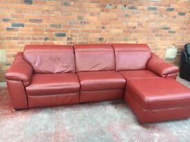 Ex Display Designer Italian Red Leather Corner Sofa - UK Delivery