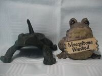 "FROG SUNDIAL GREEN, & A FROG, TOAD COMIC FIGURE WITH SIGN ""MOSQUITOES WANTED"""