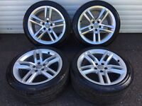 18'' GENUINE AUDI A5 S LINE ALLOY WHEELS AND TYRES 5X112 ET29 A4 B8