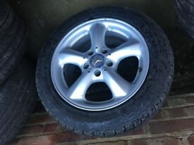Mercedes 16inch alloys x 4 with 2 good condition tyres