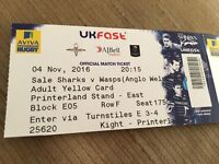 Sale Sharks vs Wasps - Anglo-Welsh Cup Rugby 2 tickets - 4 November at 8:15pm