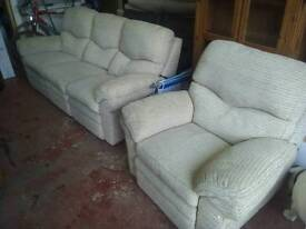 Cream cord full reclining sofa and arm chair