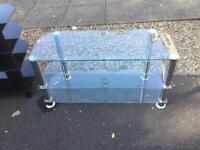 Large clear glass tv stand