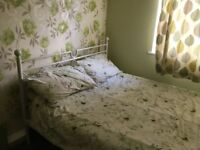 Selling double metal bed frame and mattress