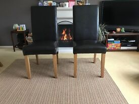 Solid wood leather high back dining chairs
