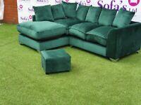 💚💙🐘🖤Brand New Dylan Plush Velvet Fabric 3+2 / Corner Sofa / Swivel Chair / Footstool