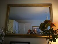 Large wall mirror, golden frame