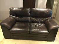 Two beautiful, comfortable, brown leather sofas for sale either separately or as a pair