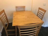 Square drop leaf kitchen table and 4 chairs
