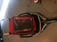 MEC double jogging stroller with bike attachment