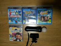 PS3 Playstation 3 Move Controller + Eye CAMERA + 4 GAMES BUNDLE UK Delivery