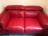Red Leather 2 seater Sofa excellent condition