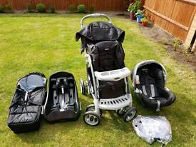 Graco Quattro Tour Deluxe Travel System - Chrome Black with Graco Junior Baby Safety Base - Black