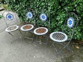 Set of 4 metal folding chairs