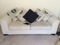 Light Beige fabric 7ft Sofa with loose cushions. Excellent condition