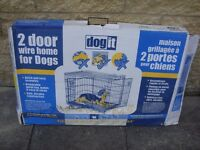 Dog It Folding Metal Dog Cage - 2 Door Wire Home For Dogs - For Medium Dogs up to 32kg - Unused