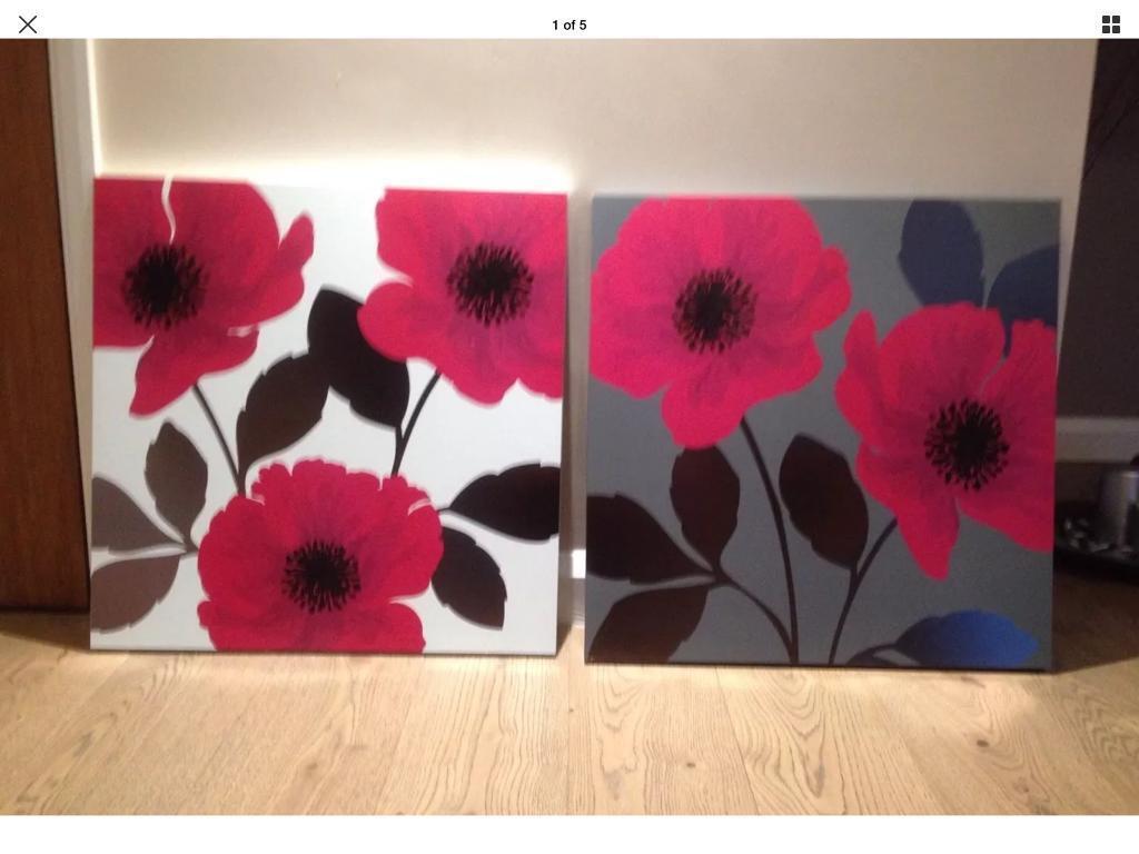 NEXT - 2 x Poppy Print Wall Art - Each Measuring 57cm Square -
