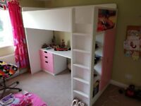 Ikea Stuva Loftbed, pink drawers and wardrobe, fully dissembled, for collection