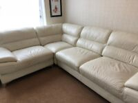 LEATHER CREAM CORNER SOFA FROM SOFOLOGY IN GOOD CONDITION