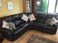 DFS Brown Leather Reclining Corner Sofa