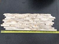 Split Face Mini Mosaic Tile Ledge Stone White / Cream