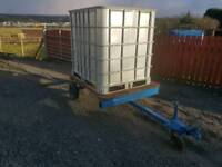 1000 litre water bowser tank and trailer for livestock in field etc tractor