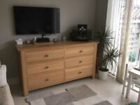 Solid Oak 6 Drawer Chest
