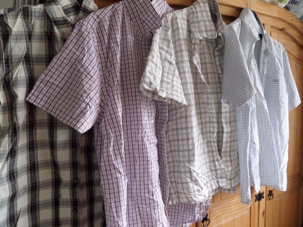 14 MENS SHORT SLEEVE SHIRTS - SIZE LARGE - VARIOUS BRANDS-GOOD CONDITION JUST NEED WASH AND IRON!!
