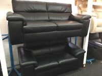 New/Ex Display Reid Liberata Black Leather 3 Seater + 2 Seater Sofas (movable head rests)