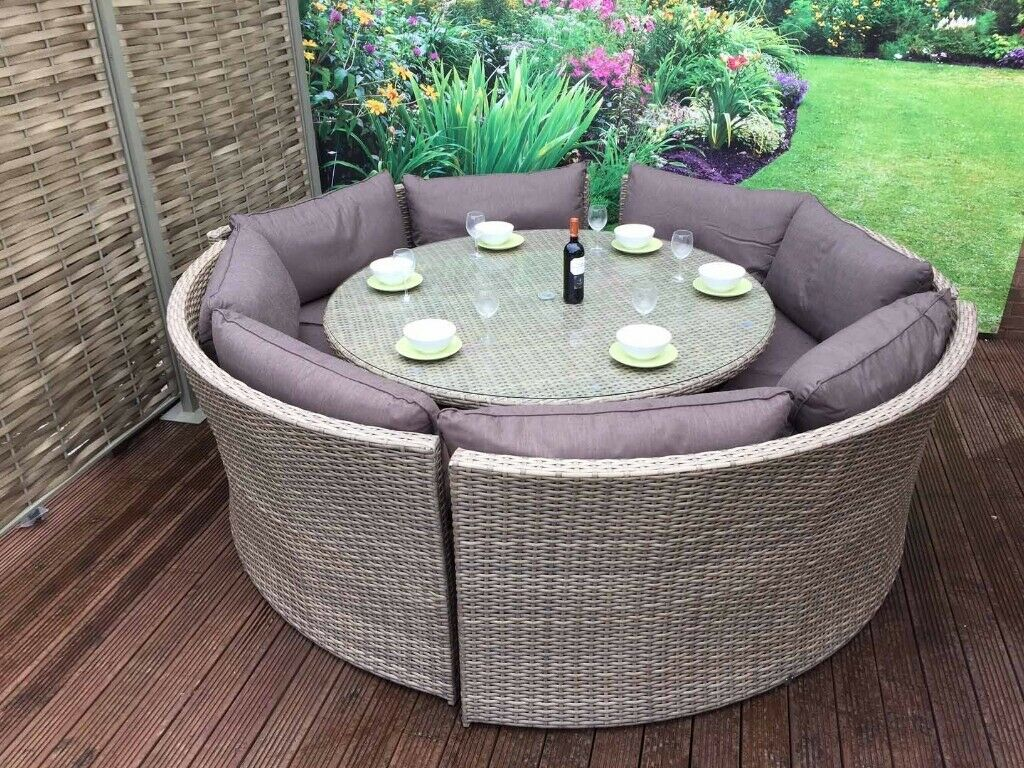 Outstanding Rattan Garden Furniture Chloe Grey Round Corner Sofa Dining Table Set In Rotherham South Yorkshire Gumtree Frankydiablos Diy Chair Ideas Frankydiabloscom