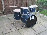Drums - Complete Beginners Drum Kit - CB - Blue - Upgraded Cymbals/Pedal