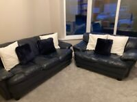 Blue navy leather sofas 2 and 3 seater