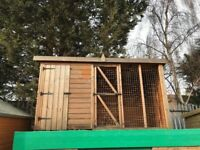 Kennel and 6ft run - tongue and grooved boards -
