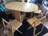Fold down dining table