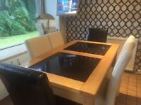 Solid wood and granite dining table and 6 chairs