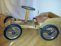 very nice wood car with brikes and stering