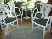 4 SHABBY CHIC CHAIRS..PRINCE OF WALES SHIELD..