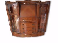 Wooden Beauro & Display Cabinet - Side/Desk - Drawers - Very Old & Antique & Ornate