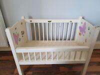 Handmade wooden toy crib