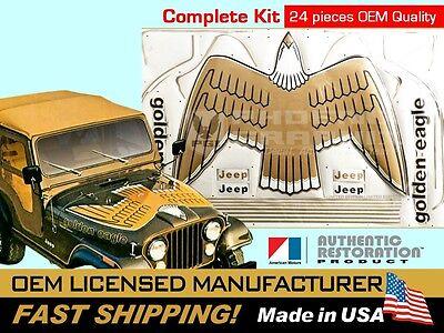 1977 1978 1979 1980 Jeep Golden Eagle CJ5 CJ7 J10 SJ Hood Bird Decal Stripes Kit